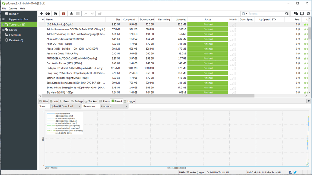 Скачивание множества торент файлов