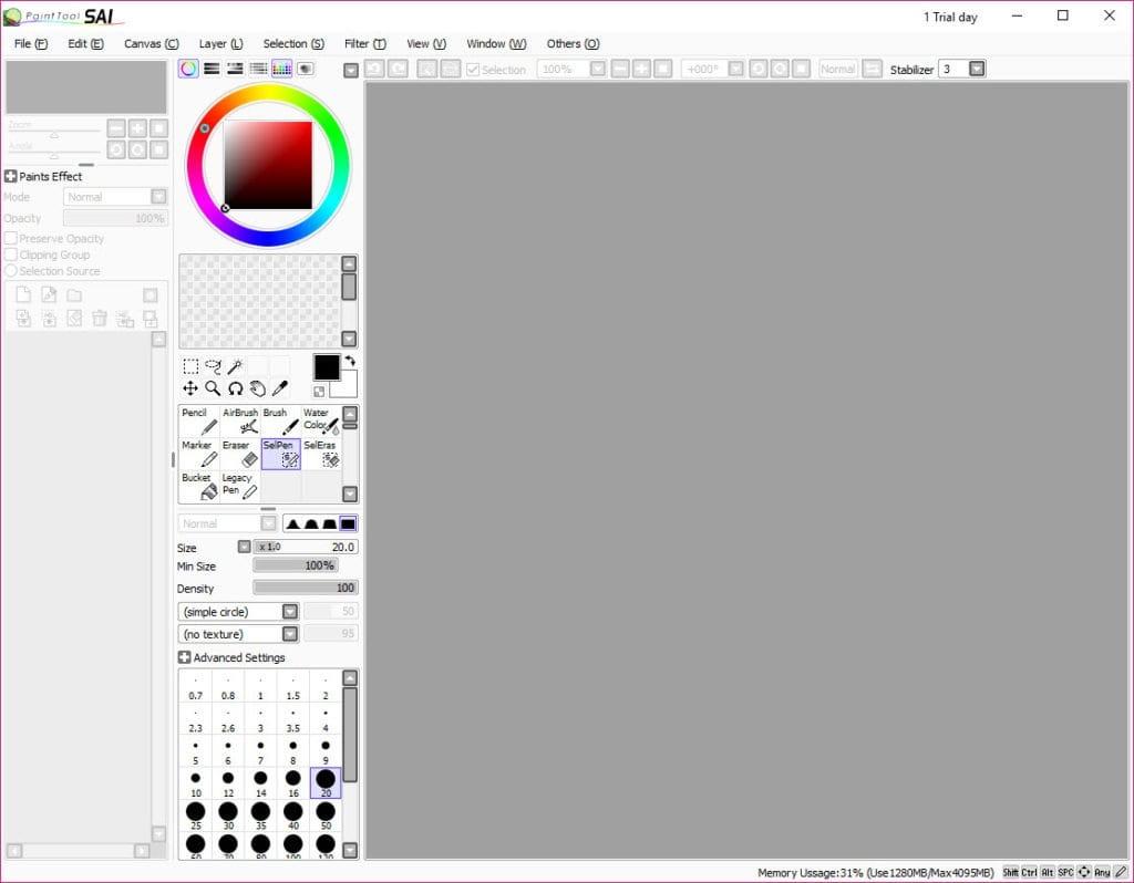 Главное окно редактора PaintTool SAI