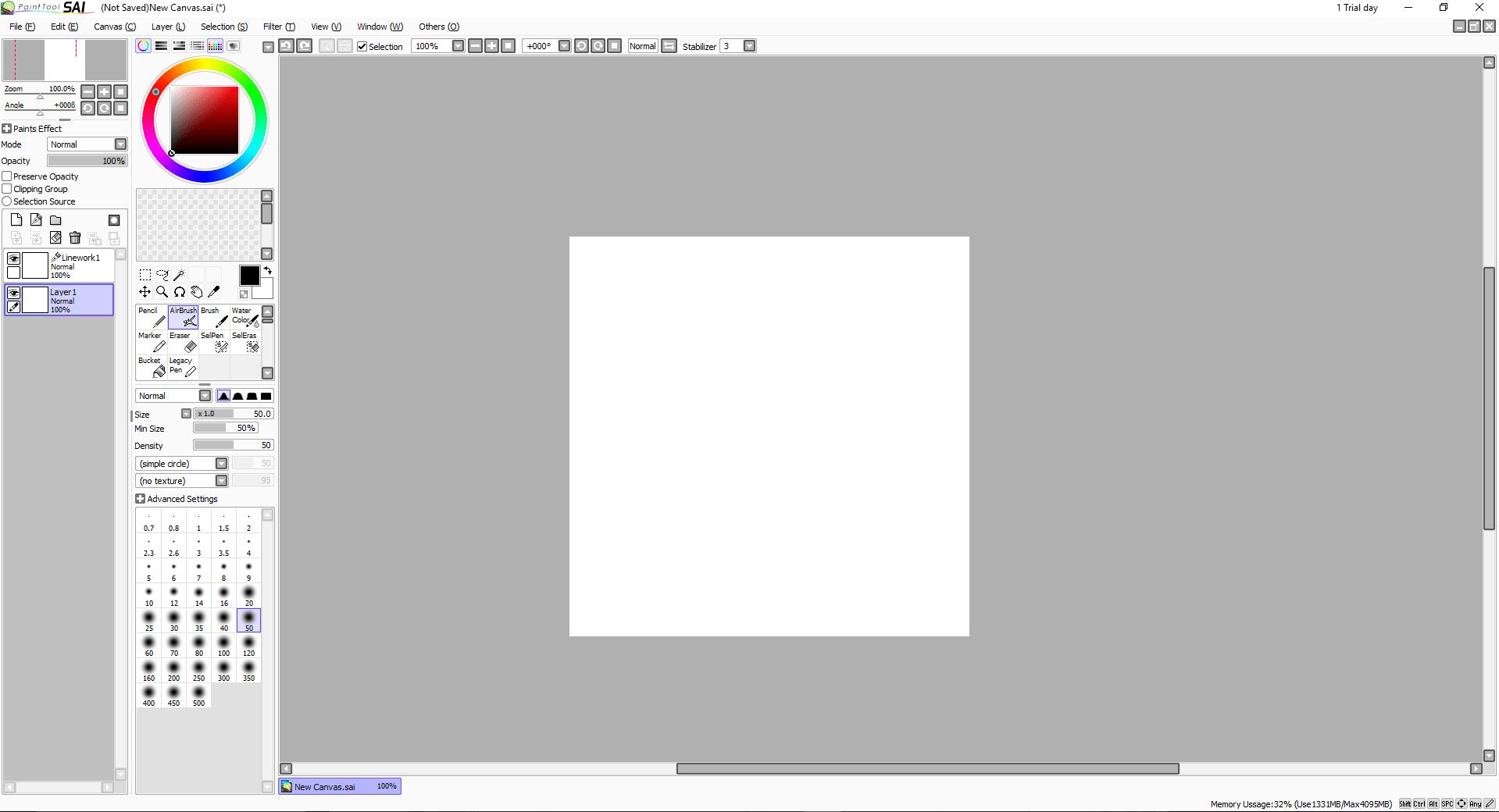 Создание нового изображения в программе