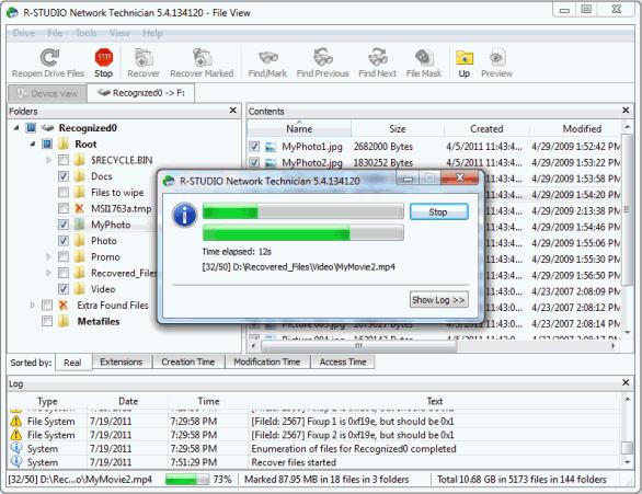 Процесс восстановления файлов в программе R-Studio