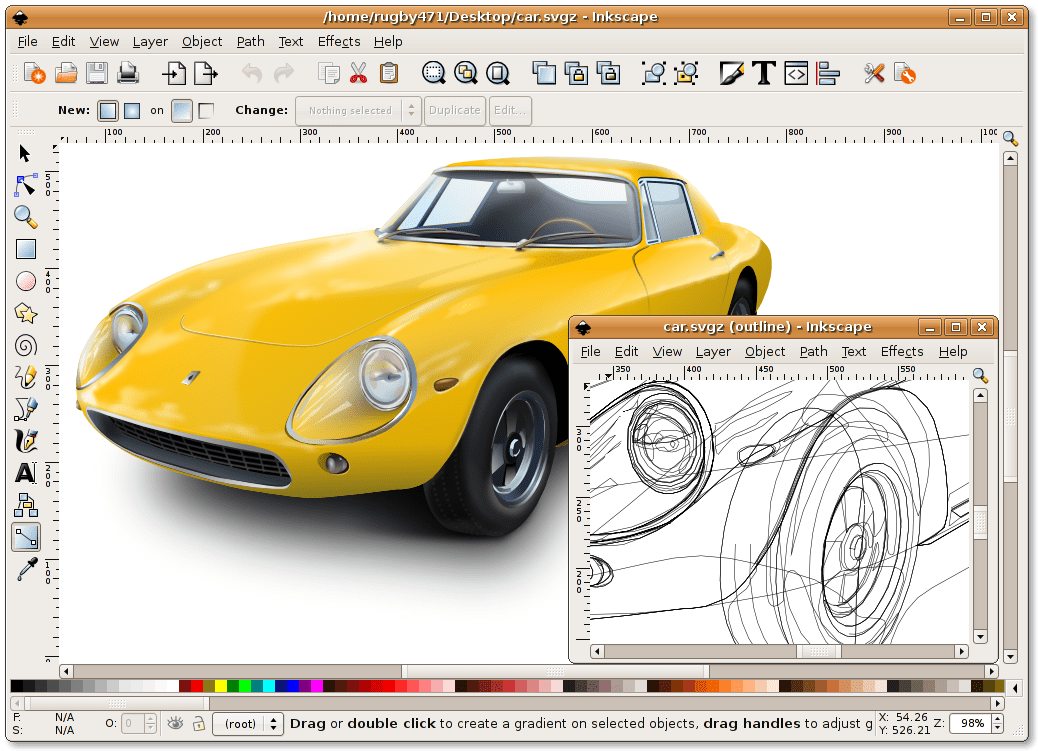 Интерфейс программы Inkscape